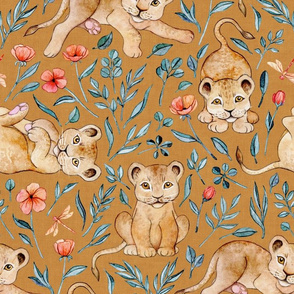 Lazy Lion Cubs with Peach Poppies on Caramel Linen - Large