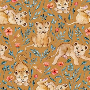 Lazy Lion Cubs with Peach Poppies on Caramel Linen - Medium