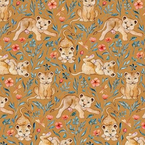 Lazy Lion Cubs with Peach Poppies on Caramel Linen - Small