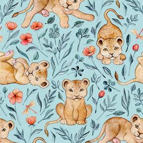 Cute Cubs with Coral Poppies on Light Blue Linen - Large