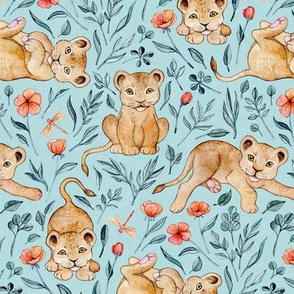 Cute Cubs with Coral Poppies on Light Blue Linen - Medium