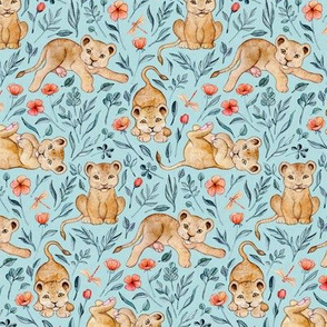Cute Cubs with Coral Poppies on Light Blue Linen - Small