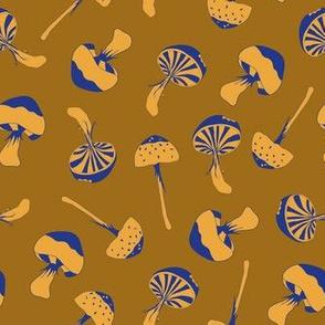 wood mushrooms yellow blue - medium scale
