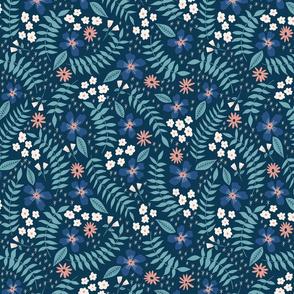 Gratitude Blue Multicolor Floral