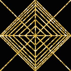 Continuous Geometric Pattern Black and Gold