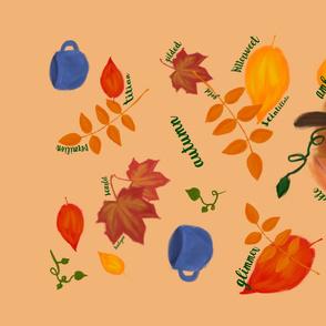 Autumn Logophile Tea Towel