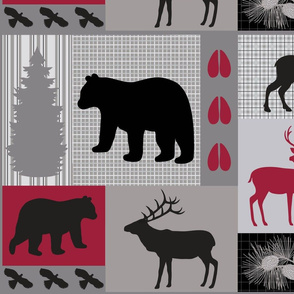 Mountain Wildlife Gray Red Large