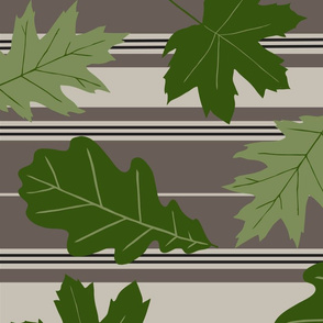 Taupe Beige Stripe Green Leaves Large
