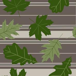 Taupe Beige Stripe Green Leaves Medium