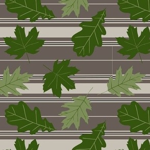Taupe Beige Stripe Green Leaves Small