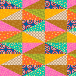 Faux Patchwork Quilt Abstract Geometric Design in Bright Pop Colours - UnBlink Studio by Jackie Tahara