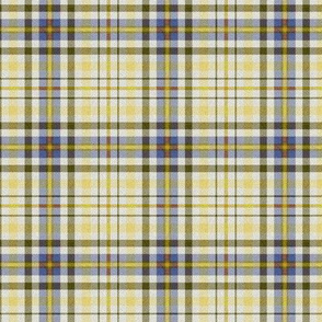 Fuzzy Look Plaid in Yellow Blue and Olive Green on White