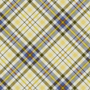 Fuzzy Look Plaid in Yellow Blue and Olive Green on White 45 degree angle