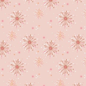 Happy new year celebration fireworks and stars party soft pastel beige pink mustard white