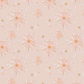Happy new year celebration fireworks and stars party soft pastel beige coral orange white