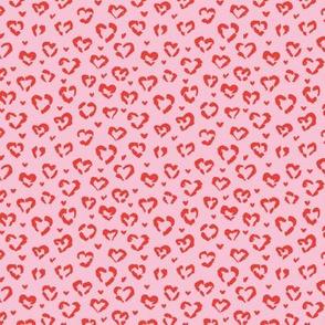 Little Valentine hearts leopard design messy animal print boho nursery trend pink ruby red tiny tiny