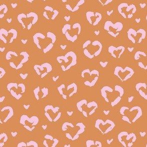 Little Valentine hearts leopard design messy animal print boho nursery trend pink on burnt orange