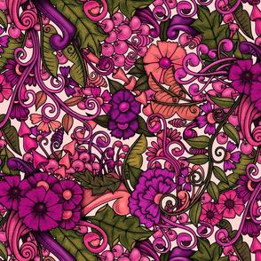 Zen Doodle Garden--bright purple pink 1 on light background