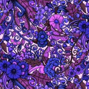 Zen Doodle Garden--bright purple pink 2 on light background