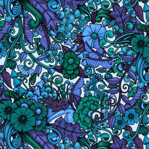 Zen Doodle Garden--bright blues and greens on light background