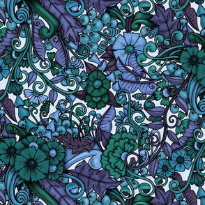 Zen Doodle Garden--faded blues and greens on light background
