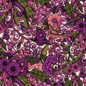Zen Doodle Garden--Faded purple pink 1 on light background