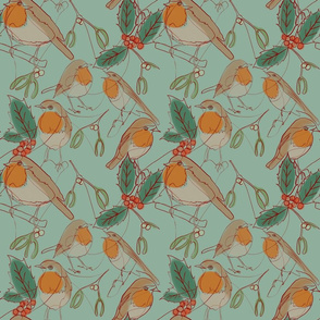 Robins, holly and mistletoe  continuous line