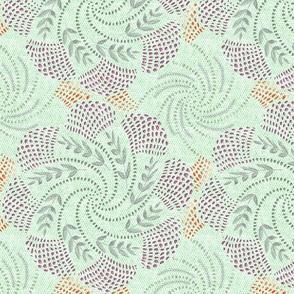 Crocheted Twirl of tulips on Summer green