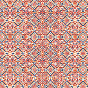 Red, Gold and Blue Ikat - Small Scale