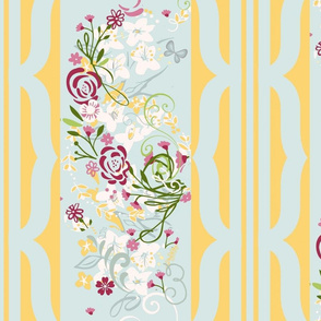 Bloomin floral spray scroll stripe