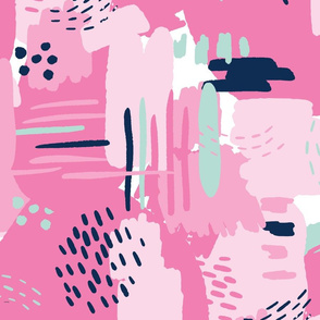LARGE Painterly Strokes and Color Blocking Bubblegum Pink