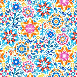 Watercolor Kaleidoscope Floral - brights, extra small print