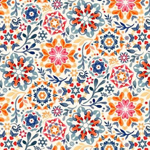 Watercolor Kaleidoscope Floral - desaturated, extra small print