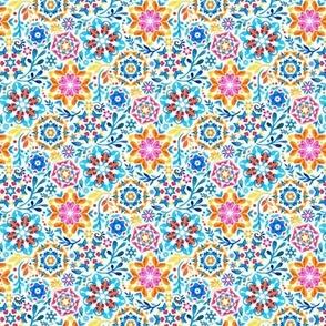 Watercolor Kaleidoscope Floral - brights, micro print
