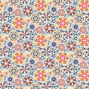 Watercolor Kaleidoscope Floral - desaturated, micro print