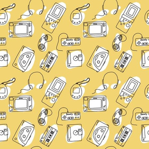 _Entertainment of nineties. technique. Yellow with white blob