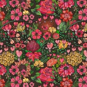 Bleeding Hearts and Blooms (dark brown)