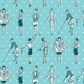 Flapper Girls in Aqua