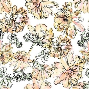 Mums pattern with a white background