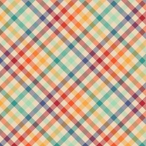 Light Diagonal Retro Rainbow Plaid - medium