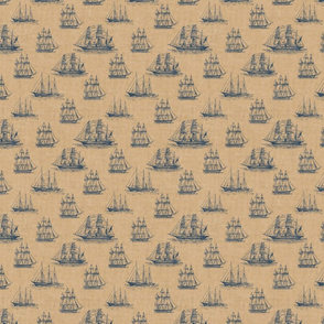Vintage Sailing Ship Pattern in Navy Blue and Sepia - Smaller