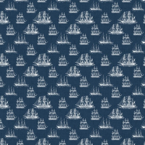 Ghost Ships - White Sailing Ships on Navy Blue