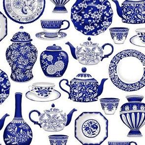 Blue and white crockery