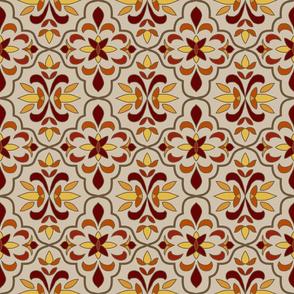 quatrefoil floral lattice, burgundy, burnt orange, yellow on tan