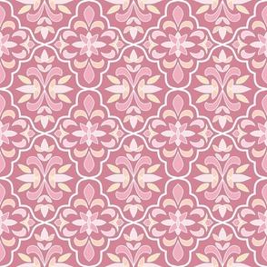 quatrefoil floral lattice, rose pink, peach, butter yellow