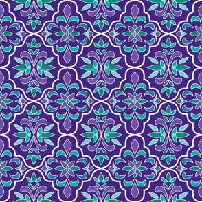 quatrefoil floral lattice, purple, teal, turquoise, aqua