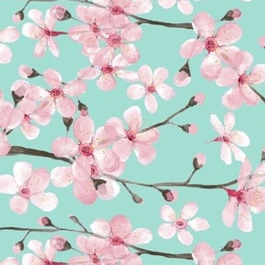 cherry blossom pink on mint