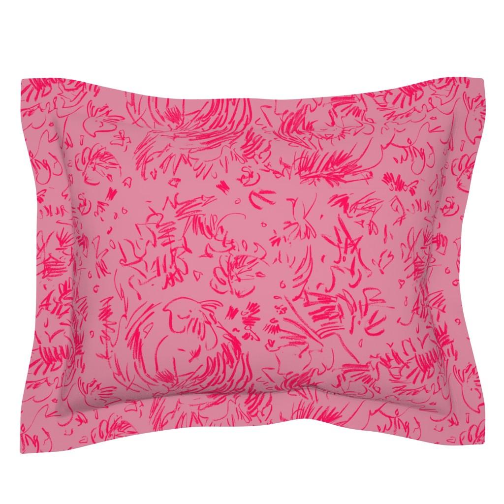 Sebright Pillow Sham featuring Tiny Leaf Lime Green Cream Garden by dorothyfaganartist