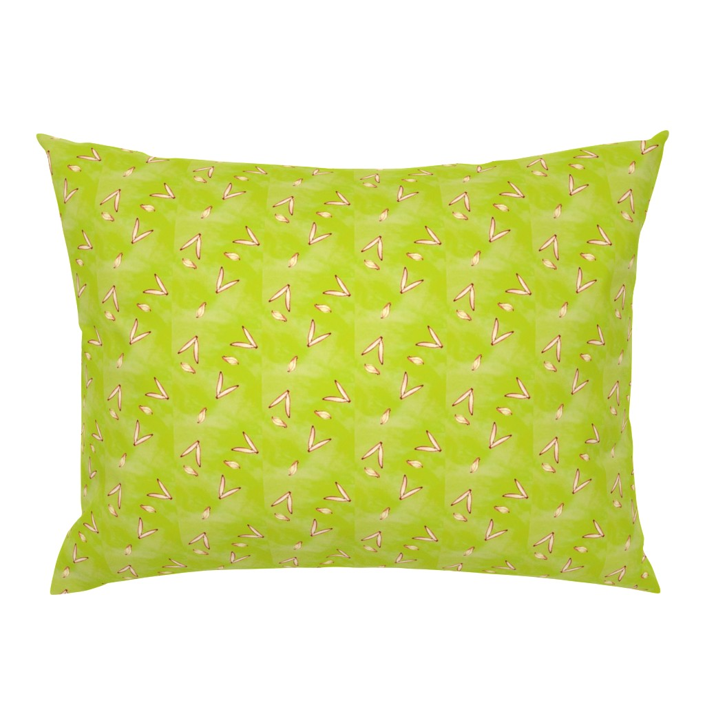 Campine Pillow Sham featuring Tiny Leaf Lime Green Cream Garden by dorothyfaganartist