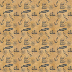 Nautical Pattern in Navy Blue and Sepia - Smaller